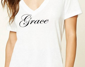Women's Christian V-neck T-shirt Tee GRACE in soft cotton and short sleeves. A great way to show God's love for us. Ideal for gift too!