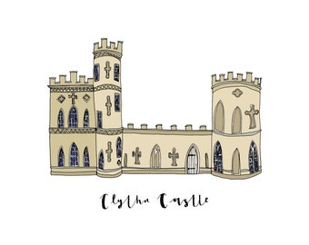 Clytha Castle, a Landmark Trust building - A6 Greeting Card, A4 Digital Print