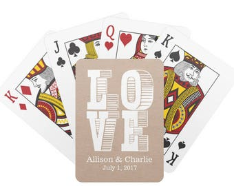 Personalized LOVE Playing Cards, Monogrammed Kraft Poker Cards, Custom Deck of Cards, Personalized Gift