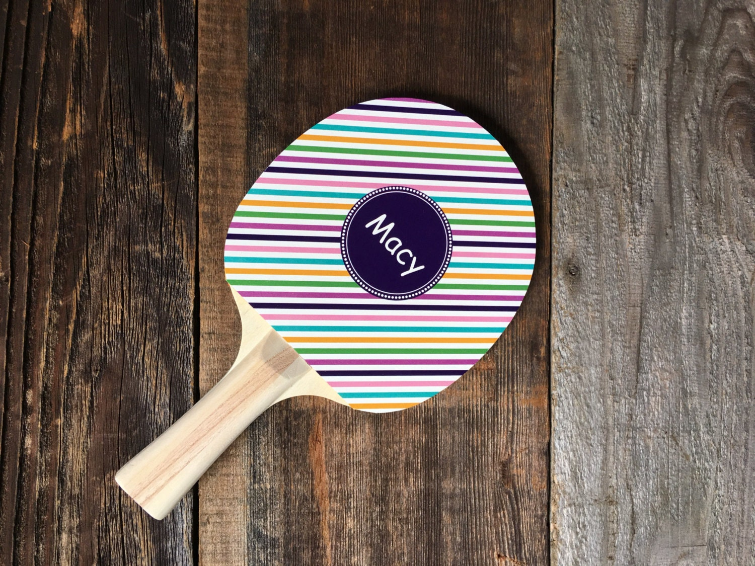 Personalized Monogrammed Stripe Ping Pong Paddle Custom Ping