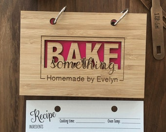 Bake Something Recipe Book for Gourmet Mom, Bakers Notebook, Recipe Book for the Bride, Bakers Club Present for her