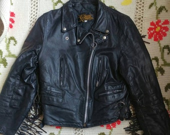 Vintage Leather Jacket with Fringe - Made in U.S.A. - size 16