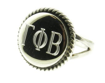 Monogrammed Greek Sorority Letters 925 Sterling Silver Round with Rope Edge Signet Ring