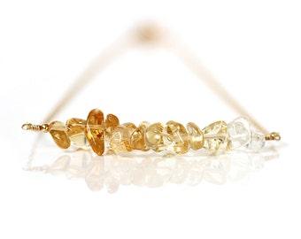 Gold Citrine Necklace, Ombre Citrine Bar, Golden Yellow Quartz Gemstone, 14k Gold Filled Jewelry, November Birthstone, Gift for Girlfriend