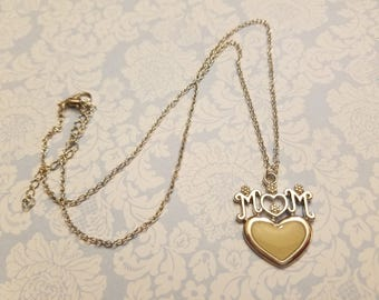 Mom Heart Necklace,  Mother's Day,  Silvertone