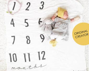 Baby Milestone Blanket ™ / Monthly Growth / swaddle blanket / anniversary blanket / age blanket / growth blanket / newborn/ baby shower gift