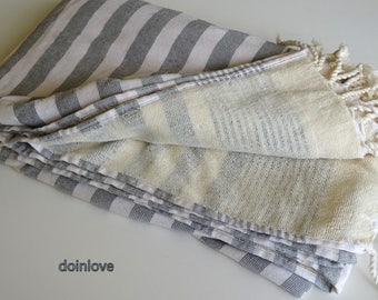 Turkish peshtemal white and gray striped soft cotton terry backing bath towel, beach towel, spa towel, baby towel.