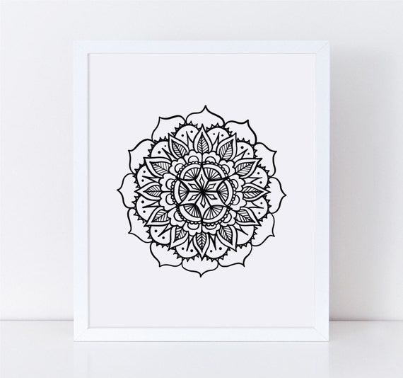Mandala Wall Art Mehndi Wall Decor Black and White Art