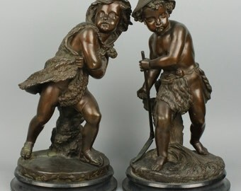 Pair of 19C french allegorical bronse figures Summer & Winter