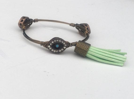 Clearance Sale, Evil Eye bangle, Tassel bangle, Evil Eye bracelet, Wire wrapped bangle, handmade bangle