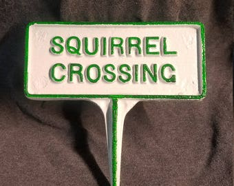 Squirrel Crossing Garden Stake