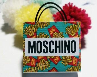 Dollhouse Miniature Brandname Shopping Paper Bag 1:12 Scale