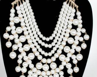 Pearl Necklace, Bib Pearl Necklace, Multi Strand Necklace, Cluster Necklace, Chunky Necklace, Bib Necklace, Statement Necklace, Pearl Set