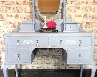 SOLD. Dressing table hand painted shabby chic vintage chalk paint Annie Sloan pale blue