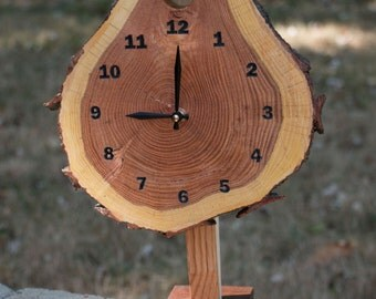 Tree slice clock w/ stand