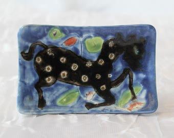 Elio Schiavon Ceramic Wall Art, Fantasy Horse, Italian, Vintage 1960's