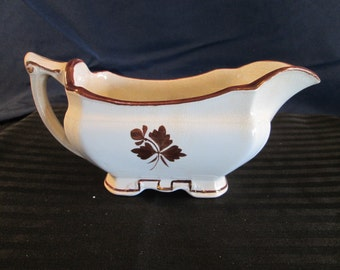 Antique Alfred Meakin England Royal Ironstone China Tea Leaf Gravy Boat. Free Shipping.