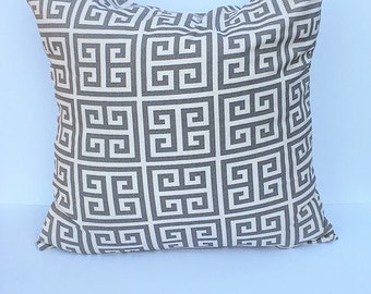 Decorative throw pillow cover, accent throw pillow cover, gray and cream throw pillow cover, home decor pillow cover.