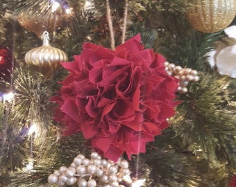 Set of Three Large Shabby Chic Red Christmas Tree Ornaments, Rag Ball Ornaments, Rustic Ornaments, Cottage Chic, Bowl Fillers