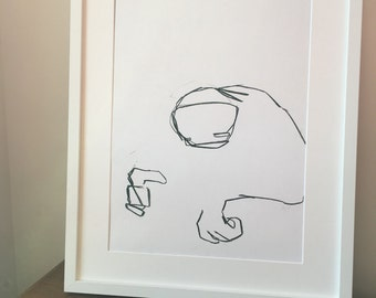 Original drawing of an abstract sloth thing