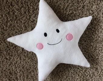 Soft Star pillow, emboidered, decorative pillows,kids gift,kids pillows,kids room decor,Nursery decor