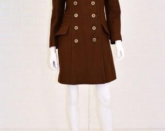 1970's Vintage Women's S Coatique Brown Wool Double Breasted Coat Peacoat Mandala Print