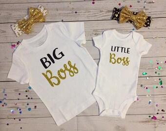 Big Boss Little Boss custom made T-shirts with matching headbands#Sisters made T-shirts#Custom made T-shirts BOSS#