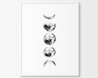 Lunar Print, Luna Print, Moon Phases Photography,  Downloadable Print, Space Print, 8x10 Print, Office Print, Office Decor, Moon Poster