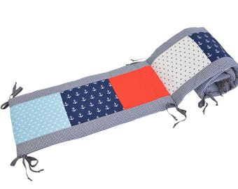 BEBILINO ® Nursery Baby Cot Bumper for 140x70 and 120x60 cm Beds Anchor RED BLUE