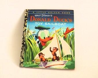 Walt Disney's Donald Duck's Toy Sailboat Story Book - Little Golden Books - 1974 - Retro Children - D109 Golden Press Sydney