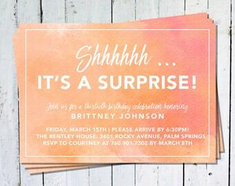 Surprise Party Invitation-Surprise Party-Birthday Invitation-Invitation-Watercolor-Coral-Surprise Birthday Invitations-Invites-Printed-PIY