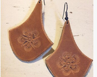 Light Brown Leather Earrings