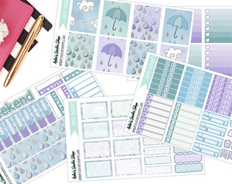 April Showers Weekly Kit for ECLP Vertical Planner Stickers