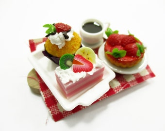 Dollhouse Miniature Food Cake Dessert Bakery Coffee Set Wooden Tray Supply Charms 13750