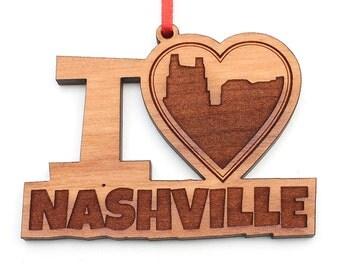 I Heart Nashville - Nashville Love Christmas Ornament - Heart my City Collection