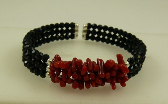 Italian Coral and Black Onyx Triple Cuff Bangle with Sterling Silver