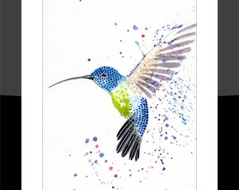 SkinnyDaz -A3 Hummingbird Print of my Original Watercolour Painting - Open Edition