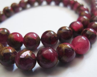 10 Pieces Red Brecciated Jasper Beads, Smooth Round, 8mm