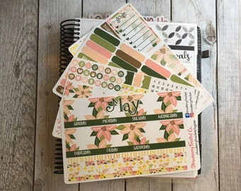 May Floral ---- Monthly Planner Kit ---- {Includes 165+ Stickers}