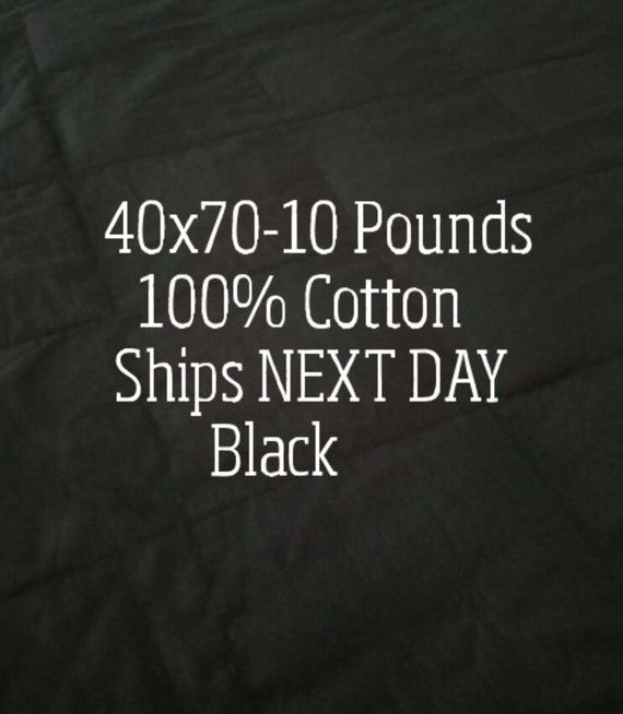 Weighted Blanket, 10 Pound, Black, 40x70, READY TO SHIP, Twin Size, Adult Weighted Blanket, Next Business Day To Ship