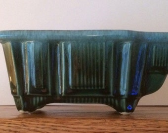 Vintage Hull F13 Art Deco Style Planter Blue-Green Glaze