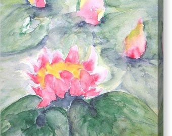 Pink Water Lilies On Pastel Blue Canvas Art Print Size 16x20 Inches