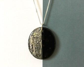 Geometric Glass Gem | Large Oval Pendant Necklace | Black • Silver