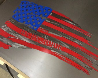 Metal American Flag, We the people