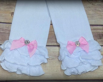 White Leg Warmers with Pink Bows Infant Leg Warmers Girls Leg Warmers Baby Girls Leg Warmers Toddler Leg Warmers Ruffled