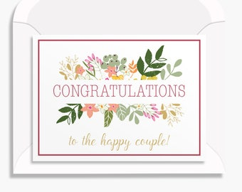 Congratulations on your wedding day/ instant download card/Printable wedding Card, Floral wedding card, Summer wedding/PDF instant download