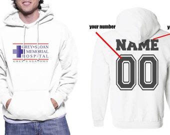 Custom back Grey Sloan Memorial Hospital on Unisex Hoodie Sweatshirt Color White