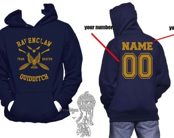 BEATER - Custom back, Ravenclw Quidditch team Beater YELLOW print printed on Navy Hoodie