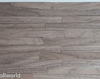 Real wood! 1/12 1/6 1/4 WALNUT veneer dollhouse flooring - diorama, roombox, miniature parquet wood floor floorboard