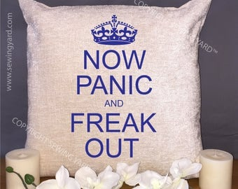 "Luxury Personalised 18"" Chenille Cushion & Pad Now Panic AND Freak Out (Keep Calm Cushion)"